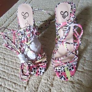 Sexy multi color leopard tie up heels!!